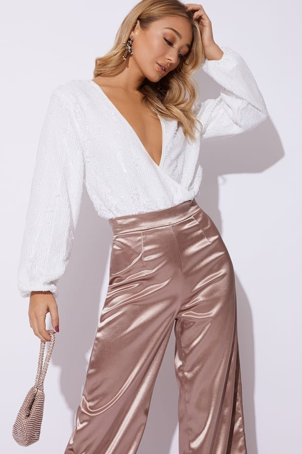 JAYNAH WHITE SEQUIN BALLOON SLEEVE BODYSUIT