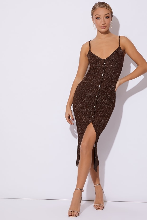 DEENAH COPPER GLITTER KNIT BUTTON DOWN MIDI DRESS