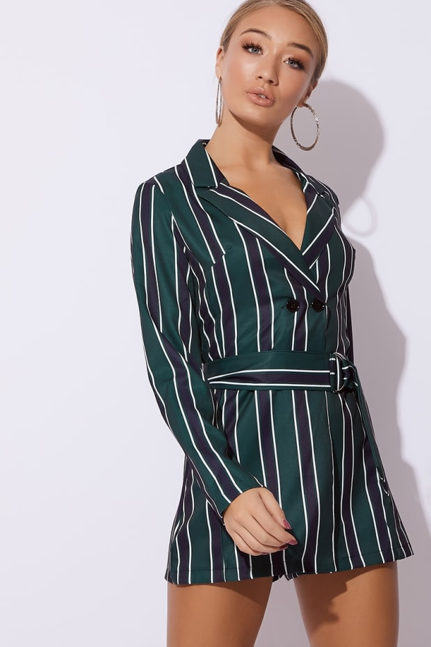AIESHA GREEN STRIPED BELTED BLAZER PLAYSUIT