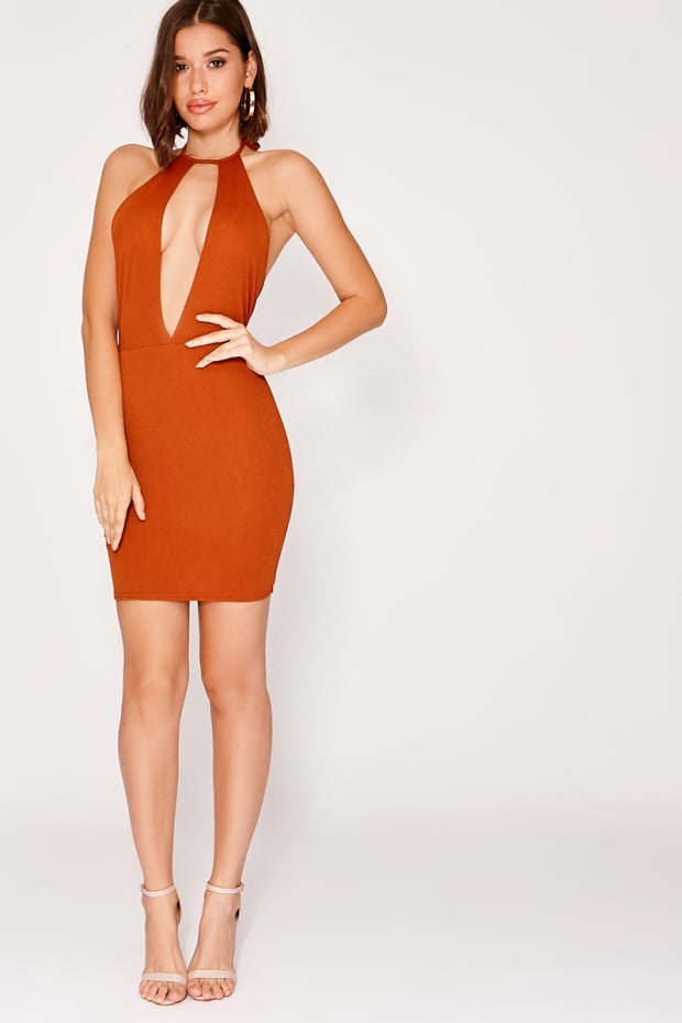 JAX BROWN CREPE HALTERNECK MINI DRESS