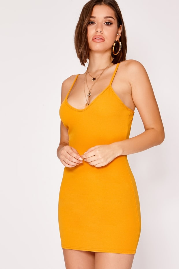 MARIZA MUSTARD CREPE PLUNGE MINI DRESS