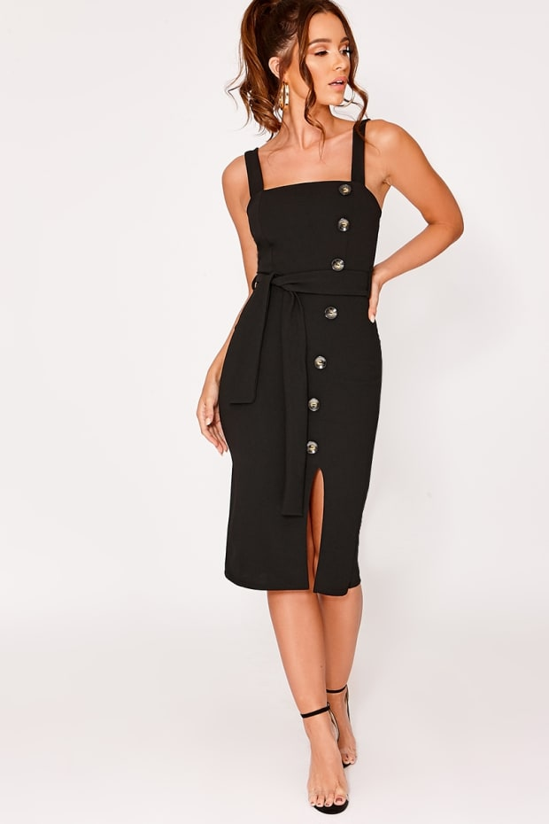 CALISTAH BLACK BUTTON DOWN MIDI DRESS