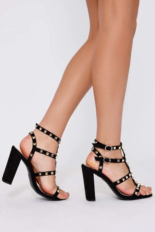 cf68ebbc5 Wyatt Black Faux Suede Studded Strap Sandal Heels
