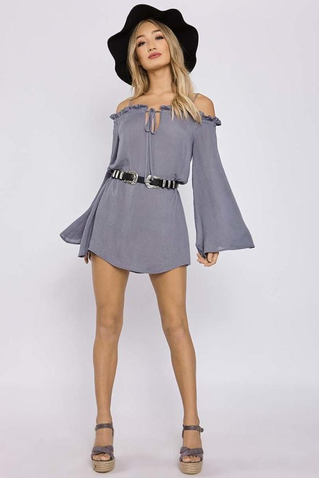 CHARLOTTE CROSBY BLUE RUFFLE FLARED SLEEVE BARDOT DRESS
