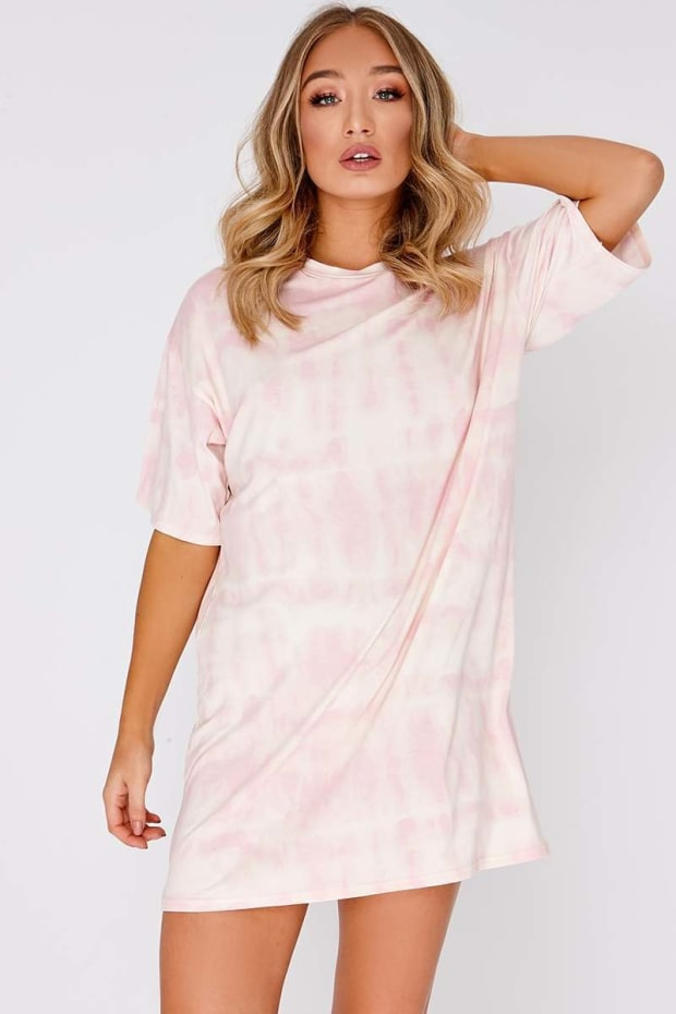 FAYTHE PINK TIE DYE OVERSIZED T SHIRT DRESS