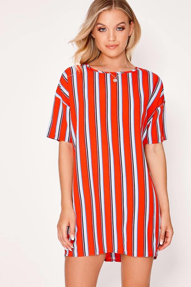 DIAAN RED STRIPE T SHIRT DRESS