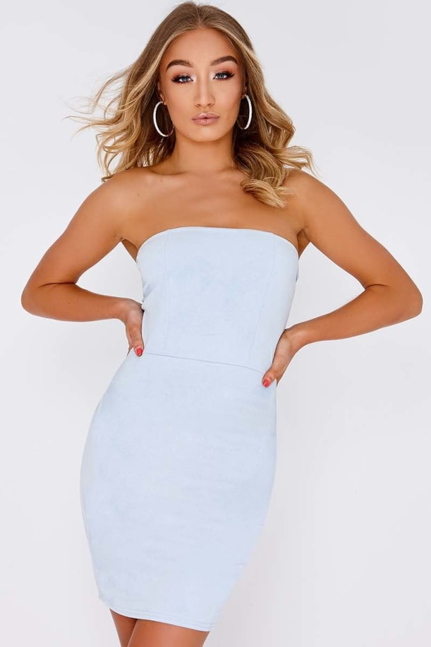GEMINI BLUE FAUX SUEDE BANDEAU DRESS
