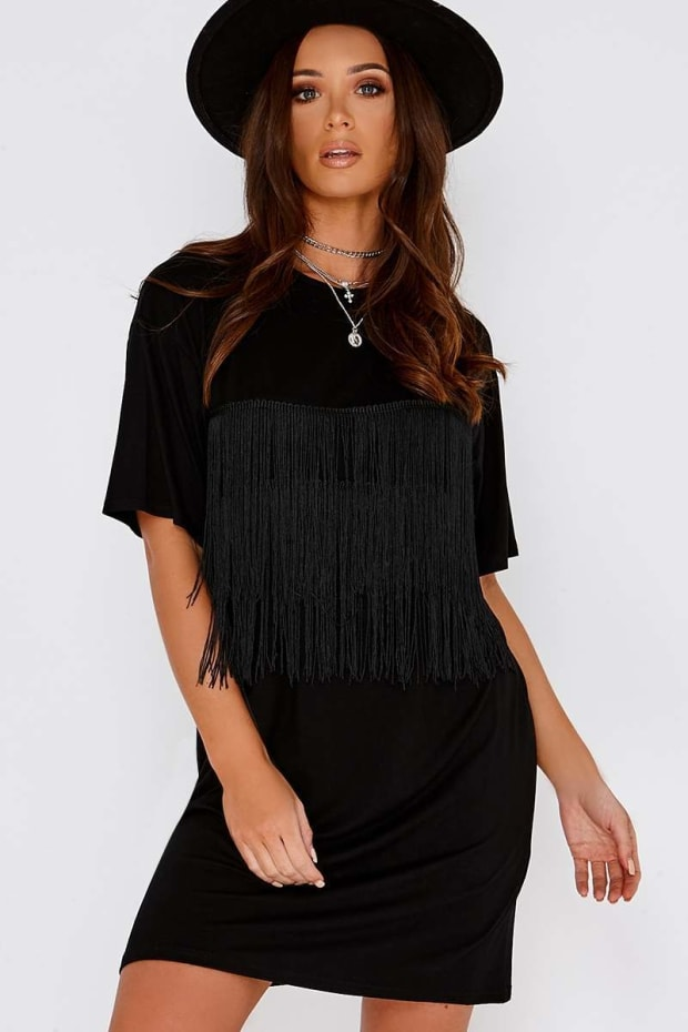 HEIKI BLACK TASSEL OVERSIZED T SHIRT DRESS