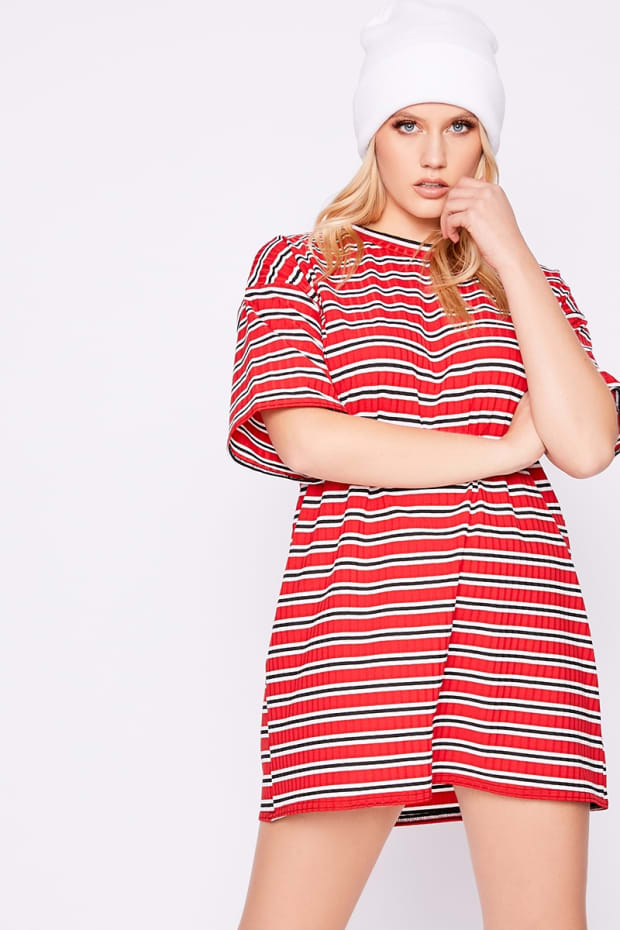 FLARENCE RED RIBBED STRIPE T SHIRT DRESS