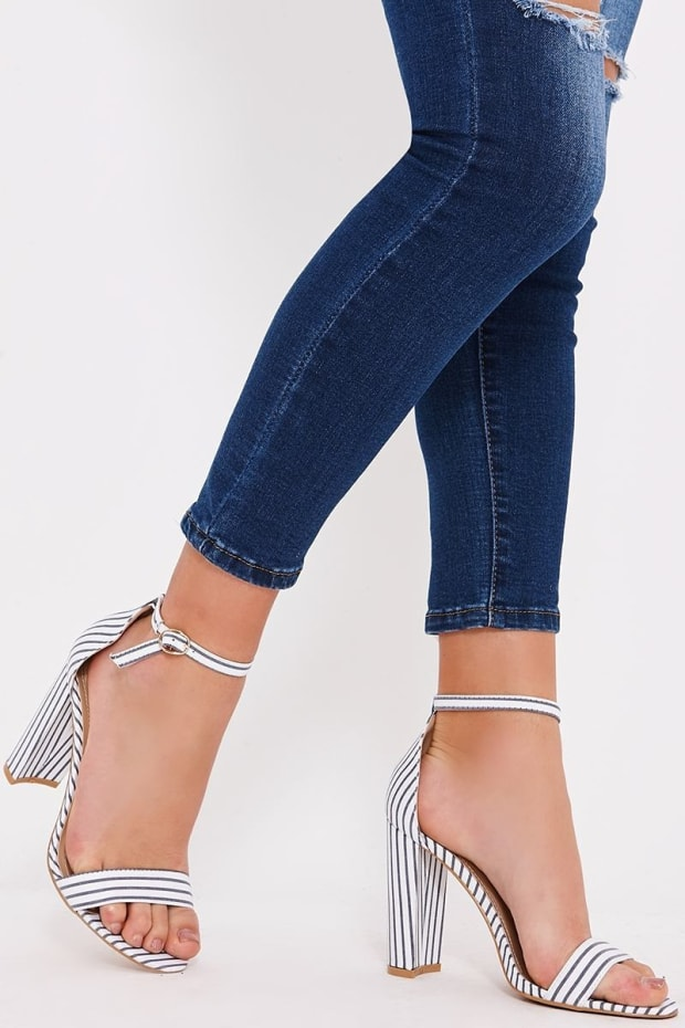 SELMA NAVY PINSTRIPE BARELY THERE HEELS