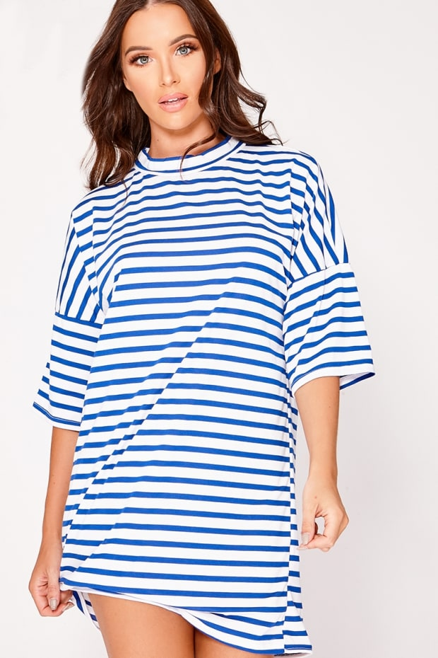 LORI BLUE STRIPE OVERSIZED T SHIRT DRESS
