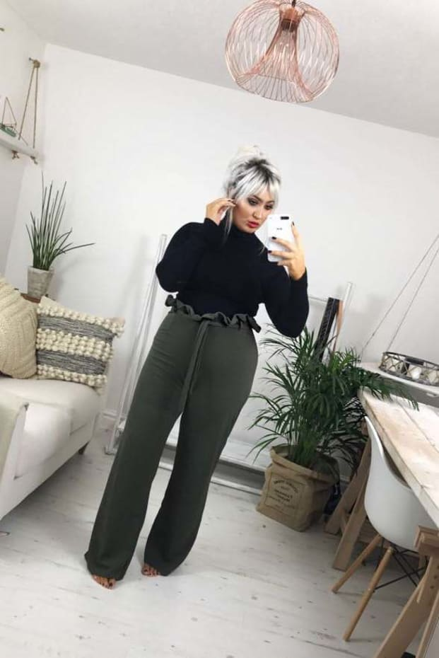 CURVE SARAH ASHCROFT KHAKI FLARED HIGH WAISTED PAPERBAG TROUSERS
