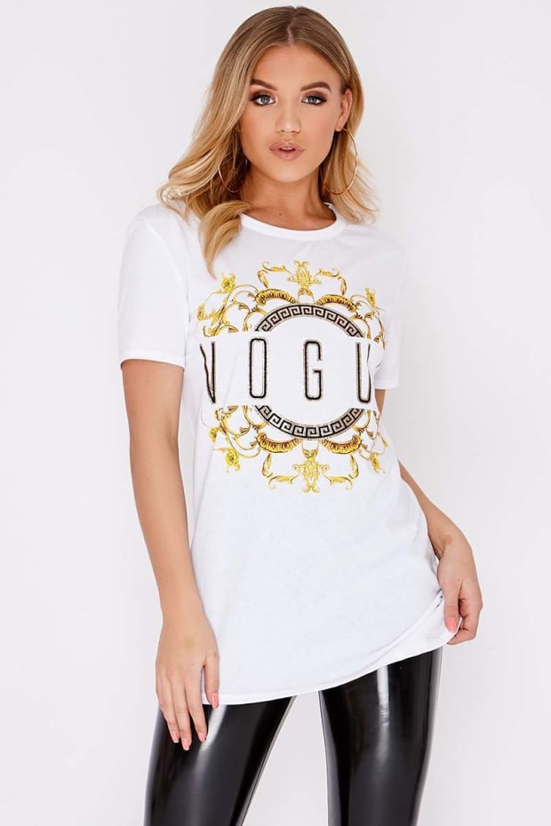 VOGUE WHITE SLOGAN TSHIRT