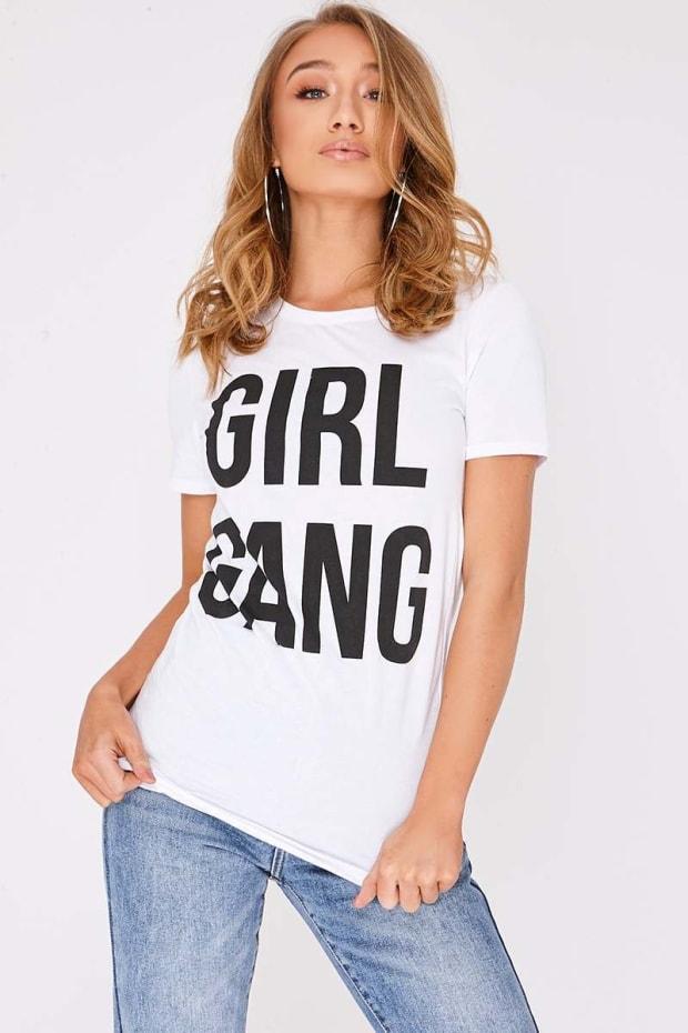 GIRL GANG WHITE SLOGAN TSHIRT