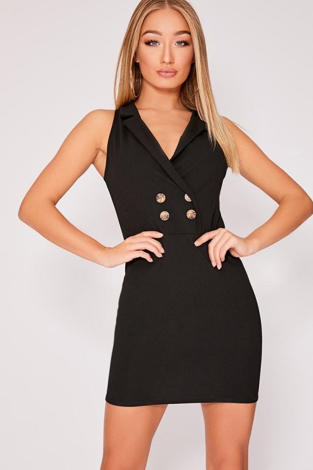 96327f6fa8 Fiorella Black Horn Button Sleeveless Blazer Dress
