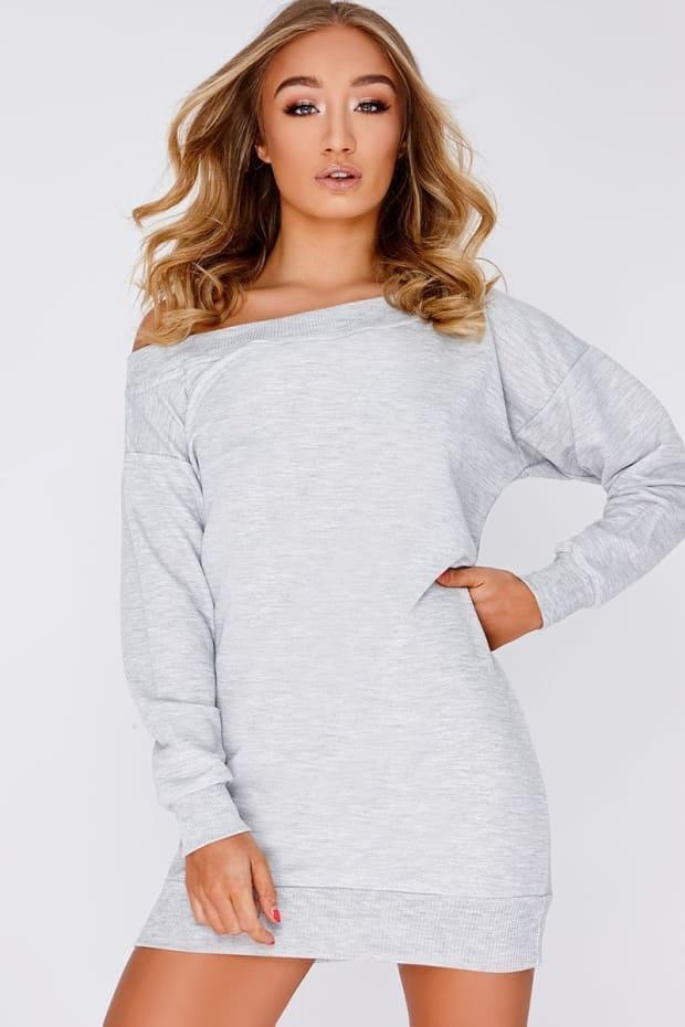 GEANIE GREY BARDOT SWEATER DRESS