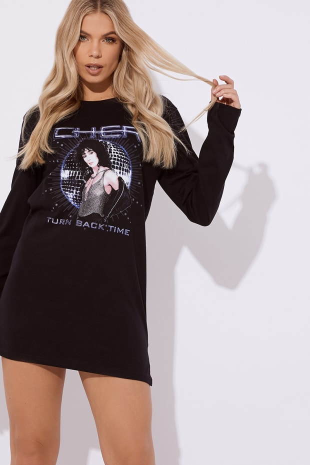 e4f66ca8f01 Cc Clarke Cher Oversized Black Long Sleeve T Shirt Dress
