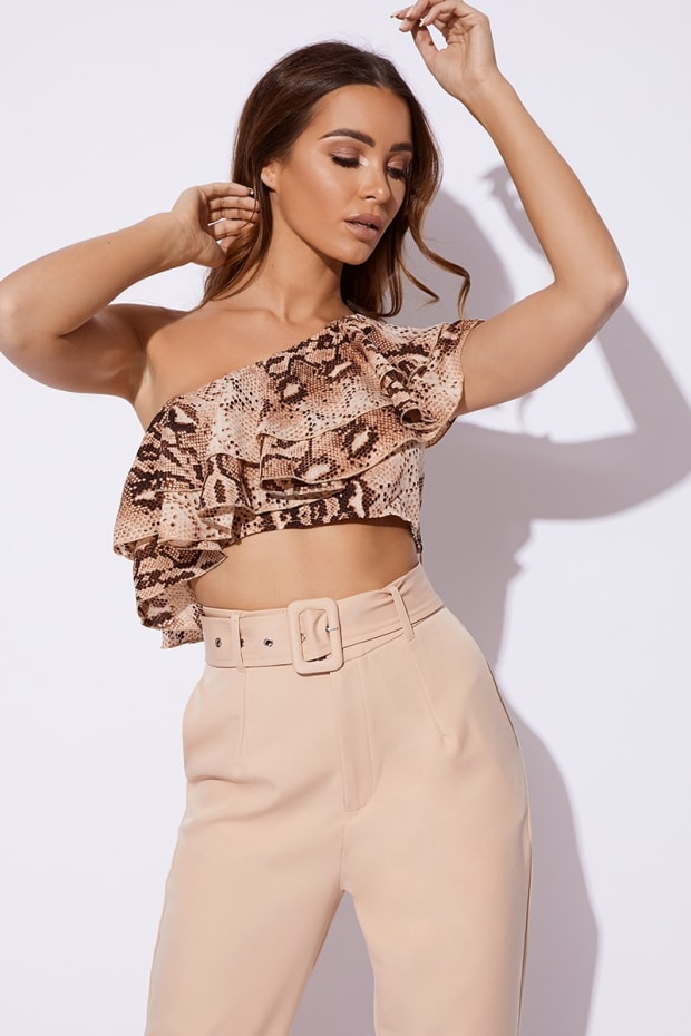 BILLIE FAIERS NUDE SNAKE PRINT ONE SHOULDER FRILL CROP TOP