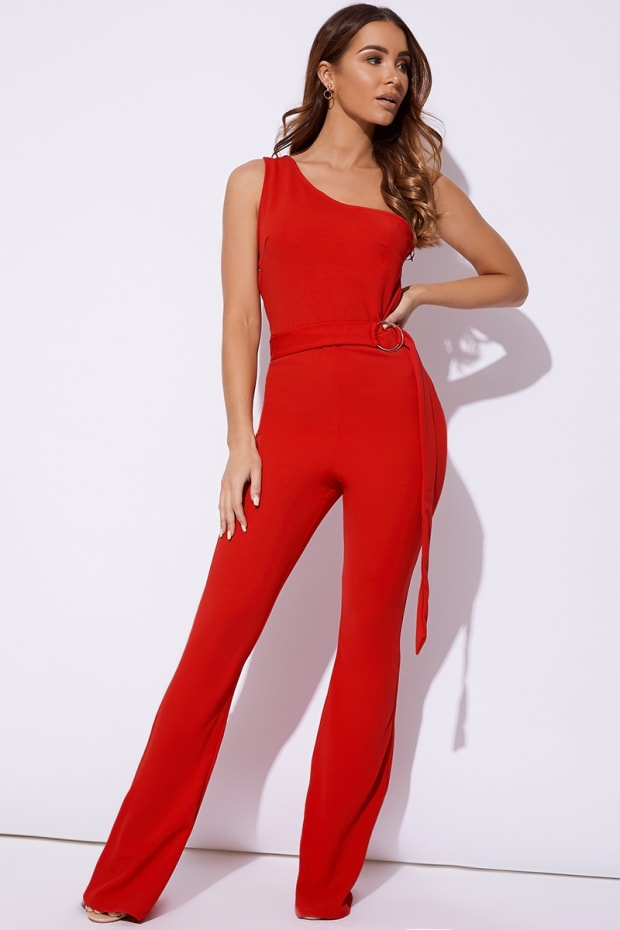 BILLIE FAIERS RED ONE SHOULDER RING DETAIL PALAZZO JUMPSUIT