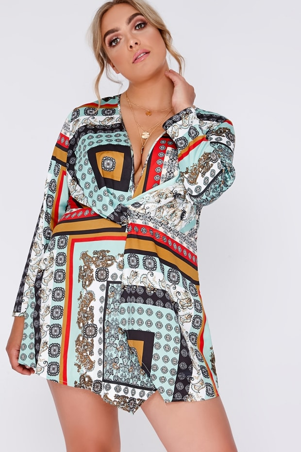 CURVE ALMIA WHITE SCARF PRINT TWIST FRONT WRAP DRESS