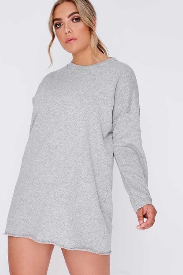 CURVE LOUNA GREY OVERSIZED SWEATER DRESS