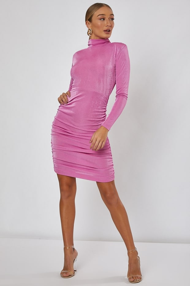ARI PINK SLINKY HIGH NECK MINI DRESS
