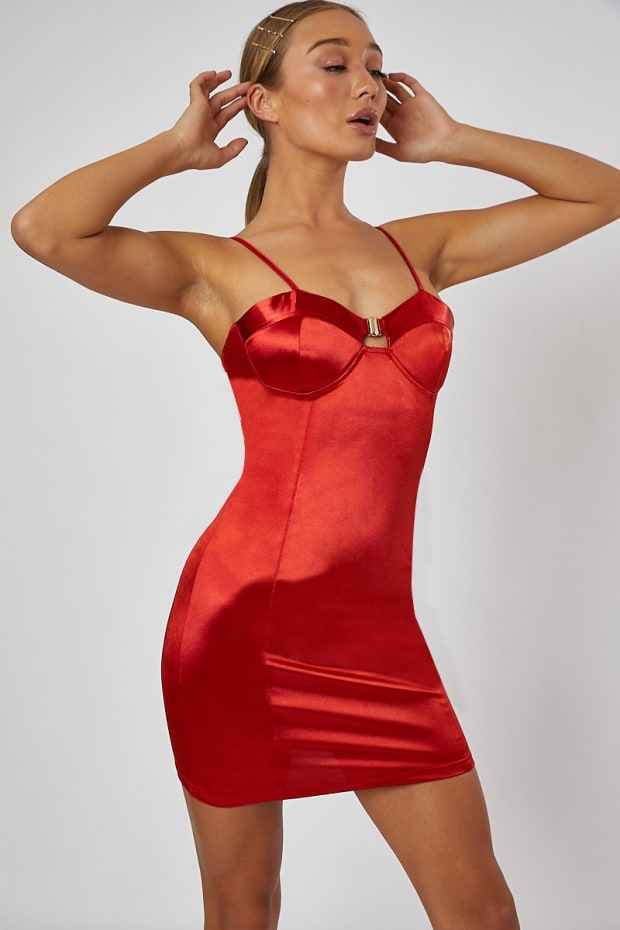 NIAMEY RED BUSTIER SATIN MINI DRESS