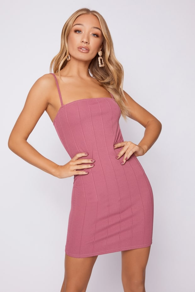 ADDIE MAUVE BANDAGE SQUARE NECK MINI DRESS