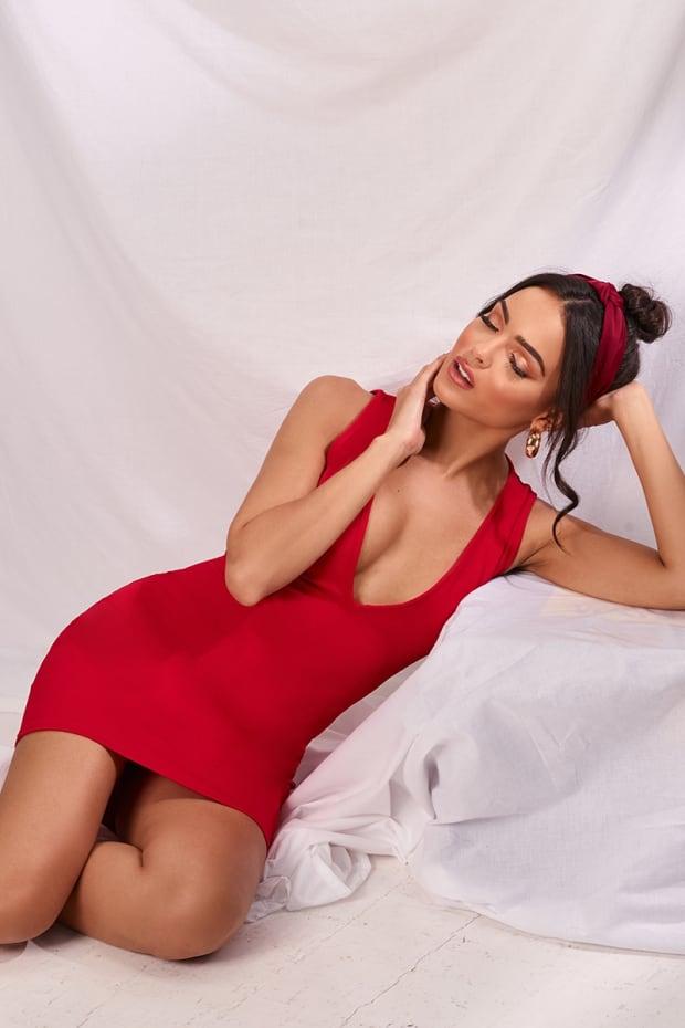 MARILITA RED PLUNGE MINI DRESS