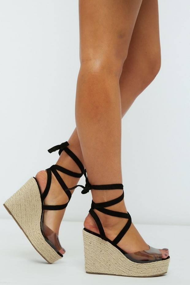 KELLINA BLACK CLEAR STRAP MULTI TIE WEDGES