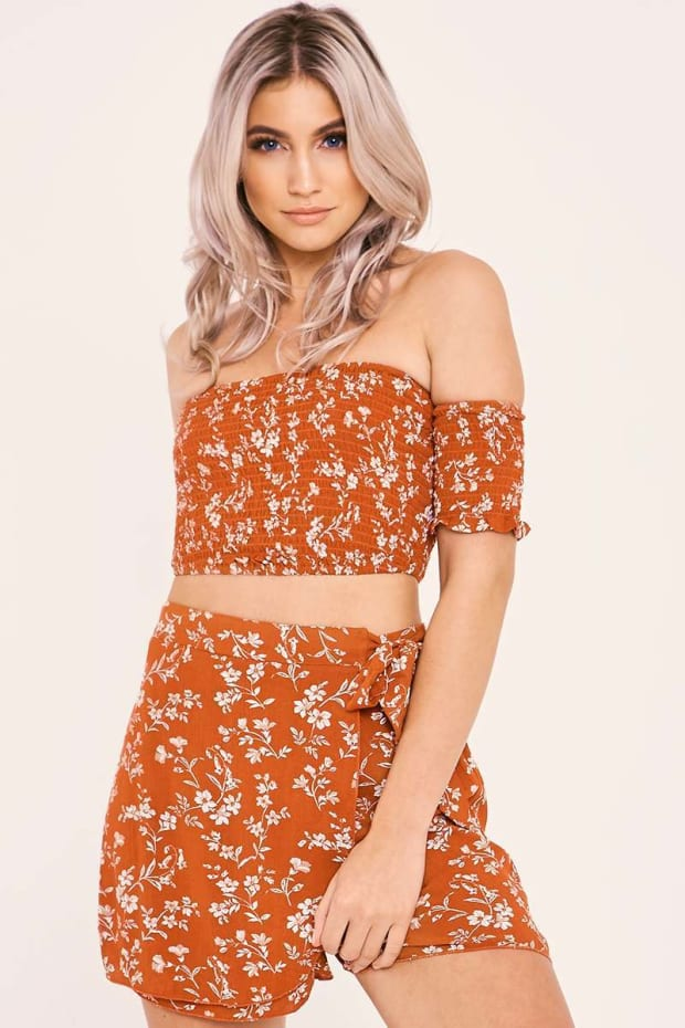 BLY RUST FLORAL BARDOT CROP TOP AND SKORT CO ORD