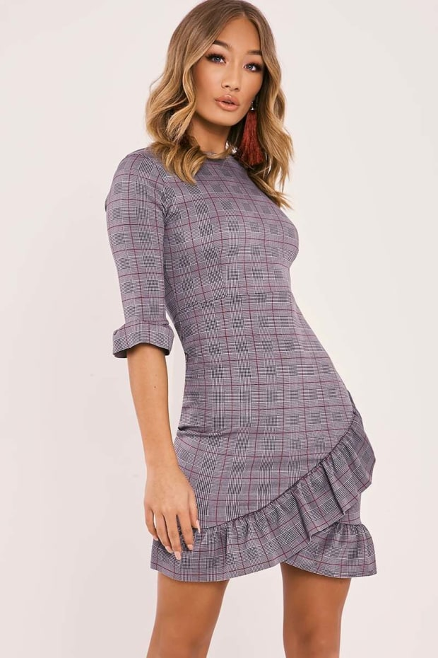 GENE GREY CHECKED RUFFLE HEM ASSYMETRIC DRESS