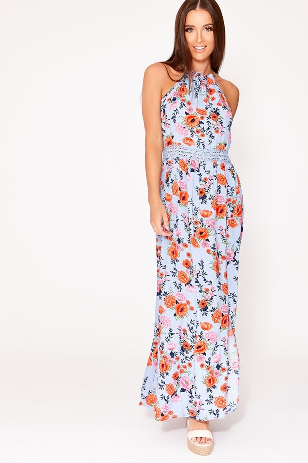 PENELLA BLUE FLORAL CROCHET TRIM MAXI DRESS
