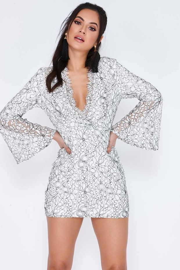 FRAYDA CREAM LACE FLARED SLEEVE PLUNGE DRESS