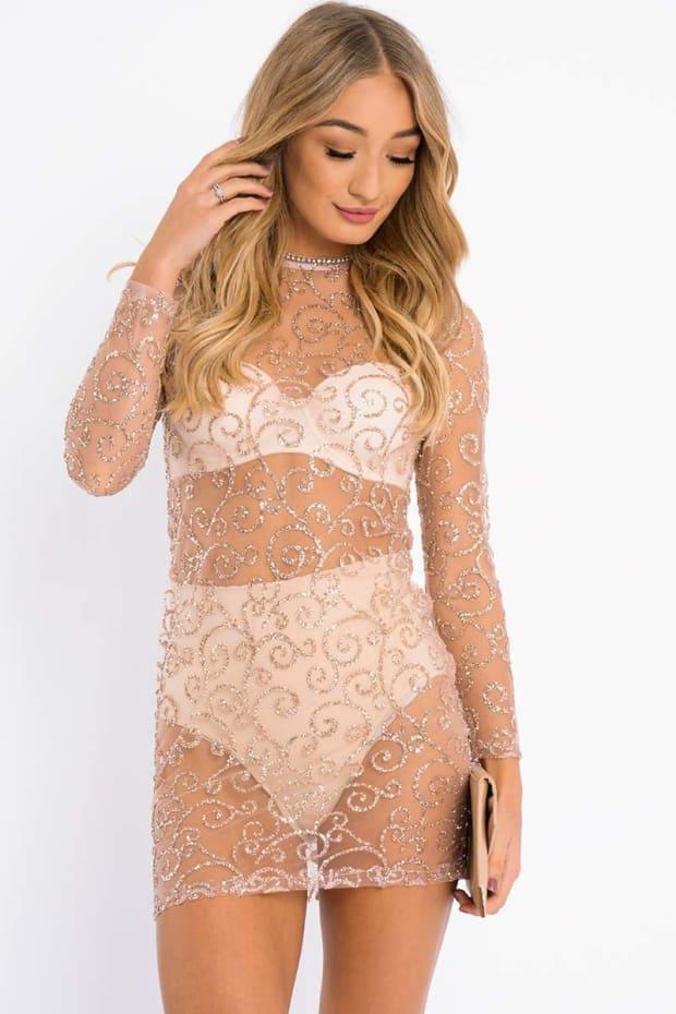 ADELAH ROSE GOLD GLITTER MESH BODYCON DRESS