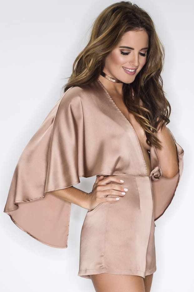 Binky Rose Gold Satin Plunge Front Cape Playsuit