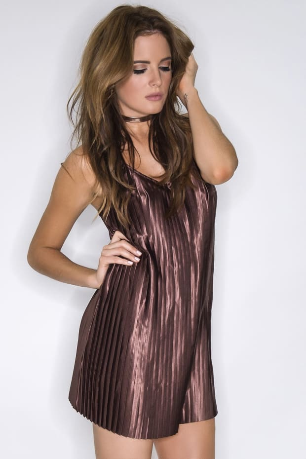 BINKY CHOCOLATE SATIN PLEATED SWING DRESS
