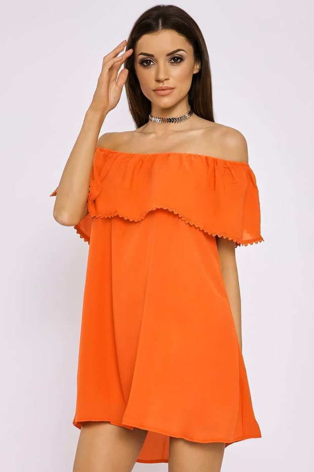 REIHAN ORANGE LACE TRIM BARDOT FRILL DRESS