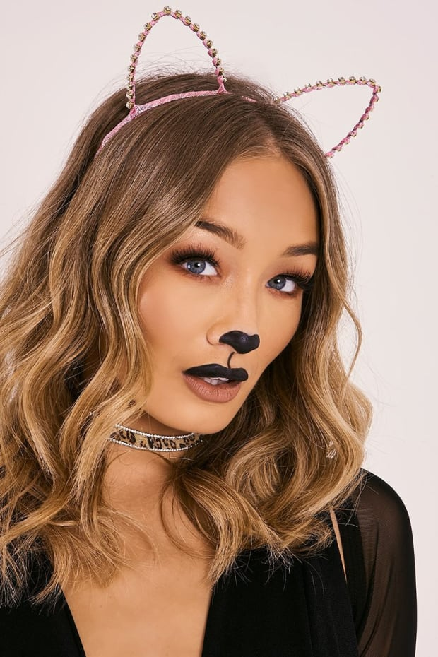 PINK DIAMANTE CAT EAR HEADBAND