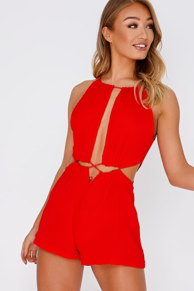 CHRISTEL RED CUT OUT DRAWSTRING PLAYSUIT