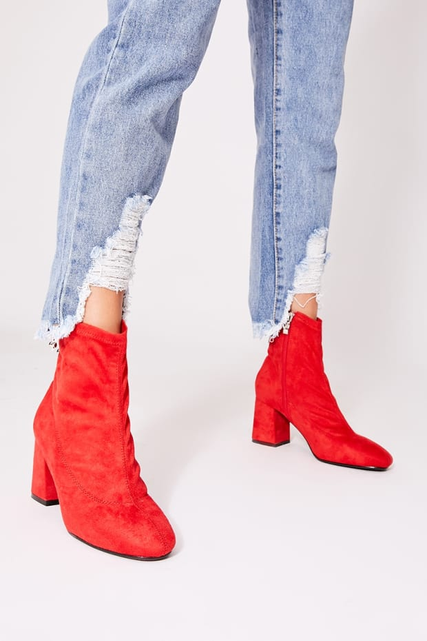 OATILE RED FAUX SUEDE ANKLE BOOTS