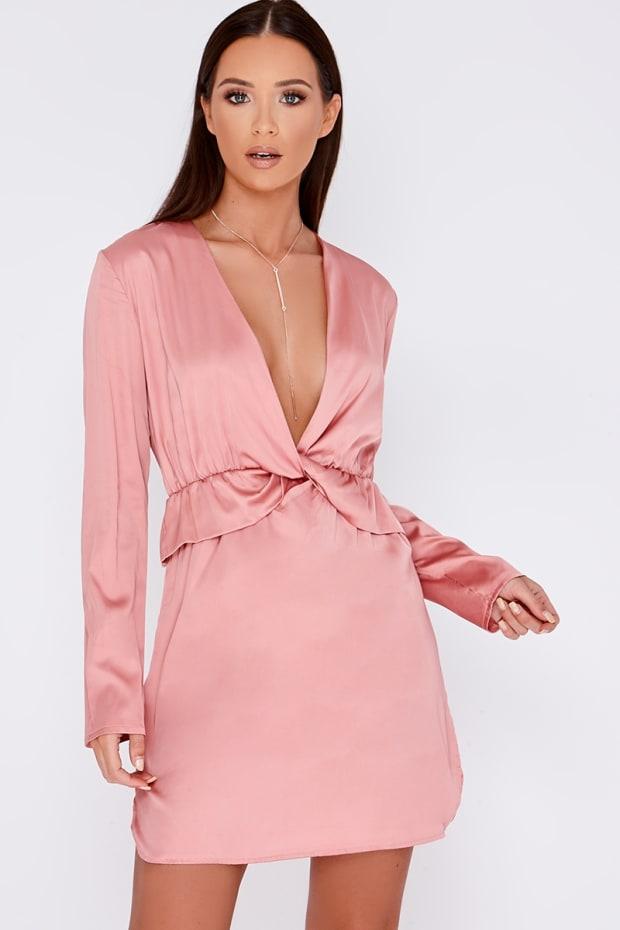 ANAMARI ROSE PINK SATIN  FRILL WRAP DRESS