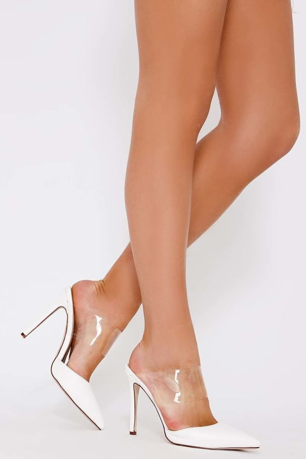 TALIAH WHITE FAUX SUEDE CLEAR STRAP BACKLESS HEELS