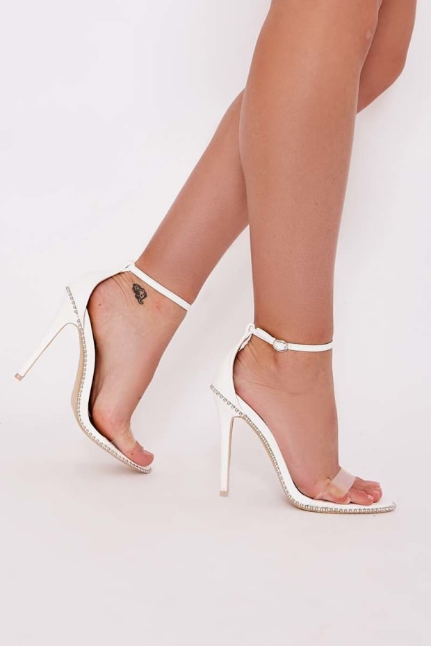 SAWYER WHITE STUDDED CLEAR STRAP BARELY THERE HEELS