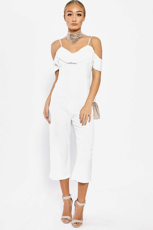 KARMEL WHITE STRAPPY FRILL CROPPED JUMPSUIT