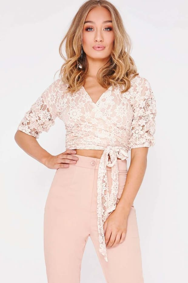 NICKIE NUDE LACE FRILL SLEEVE TIE FRONT CROP TOP