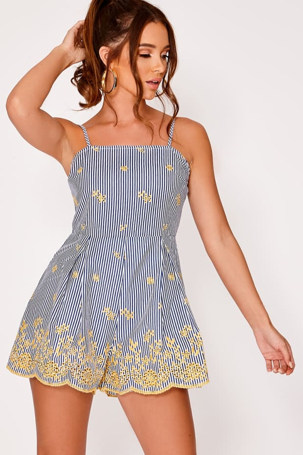EALISON BLUE STRIPED FLORAL EMBROIDERED PLAYSUIT