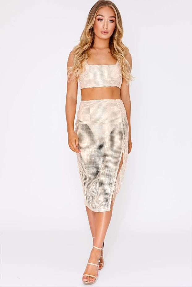 HAIDYN NUDE PREMIUM EMBROIDERED SEQUIN THIGH SPLIT MIDI SKIRT