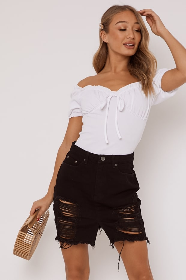 JAMILEE BLACK DENIM SKIRT