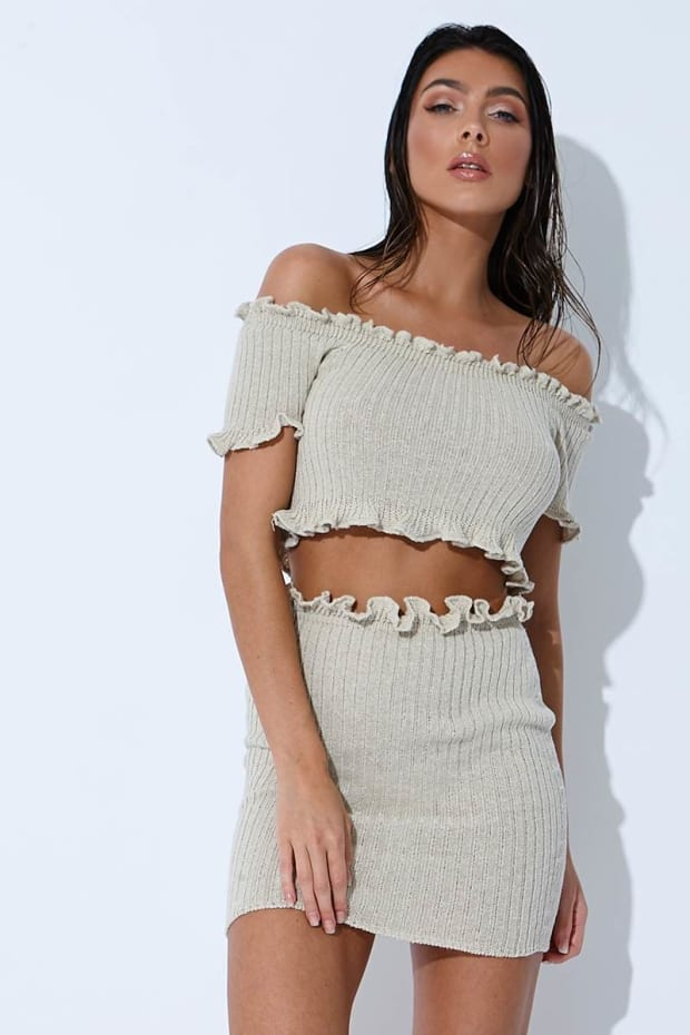 SARAH ASHCROFT STONE RIBBED RUFFLE MINI SKIRT
